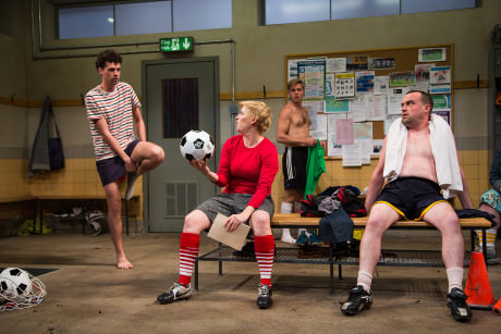 Liam Forde (Luke), Kimberly Gilbert (Viv), Zdenko Martin (Danny), and Michael Glenn (Joe) in 'Jumpers for Goalposts' at The Studio Theatre. Photo by Igor Dmitry.