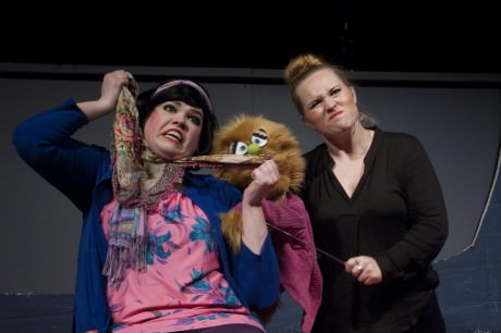 """Christmas Eve (Danielle Robinette) teaches Kate Monster (Erin Adams) about the true meaning of relationships in """"The More You Ruv Someone."""" Photo courtesy of Stillpointe Theatre Initiative."""