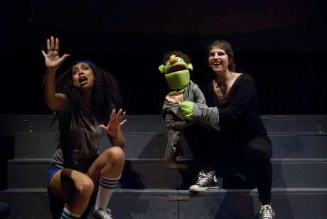 """Gary Coleman (Ciera Monae) teaches Nicky about laughing at others' misfortune in """"Schadenfreude.' Photo courtesy of Stillpointe Theatre Initiative."""
