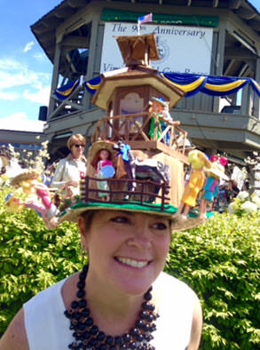 One of the award-winning hats in front of the Steward's Stand.