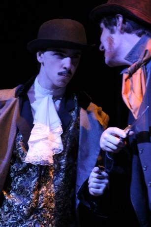 L: Garrett Christian as Mr. Croup and  Alex Bulova as Mr. Vandemar right. Photo by Dianne Janczewski.