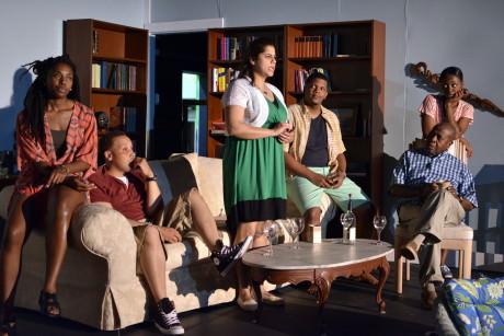Cast of 'Stickfly': left to right: Brittany Caldwell, Mack Leamon, Fatima Razi, Chaz Pando, Bill Greene, and Kashayna Johnson.