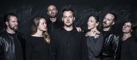 The cast of 'Hamlet': L to R: Dan Crane, Esther Williamson, Jim Jorgensen, Marcus Kyd, Jessica Lefkow, Daniel Flint, and Teresa Castracane. Photo by Joel David Santner, with Teresa Castracane.