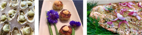 Rappahannock Oysters with Cucumber Sorbet – Mini crab cakes and cornflowers – Mustard Crusted Salmon and Dill.