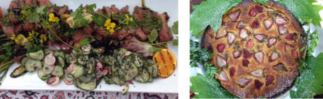Grilled beef chimichurri with Satsumi oranges and summer vegetables – Rose and Rhubarb Torte.