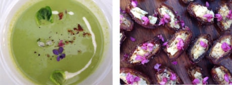 Minted Pea Soup – Dates stuffed with blue cheese and decorated with Redbud flowers.