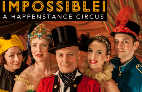 """""""Impossible!"""" stars, from left, Happenstance Theater's Sabrina Selma Mandell, Gwen Grastorf, Mark Jaster, Sarah Olmsted Thomas and Alex Vernon. Photo by Leslie McConnaughey."""