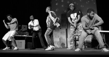 The cast of Secrets of a Black Boy, from left: Al St. Louis (Sheldon), Troy Crossfield (Jakes), Samson Brown (Biscuit), Leighton Williams (Jerome), Shomari Downer (Sean). Photo by Yannick Anton.