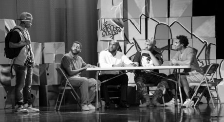 The cast of Secrets of a Black Boy, from left: Samson Brown (Biscuit), Shomari Downer (Sean), Troy Crossfield (Jakes), Leighton Williams (Jerome), Al St. Louis (Sheldon). Photo by Yannick Anton.