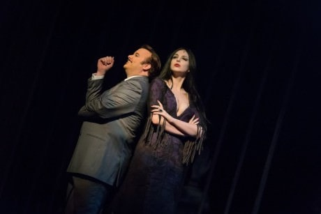 Gomez (Jordan Stocksdale), Morticia (Sarah Summerwell). and Gomez (Jordan Stocksdale) and Lurch (Russell Rinker). Photo by C. King Photography. Photo by
