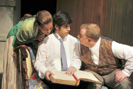 Kathryn Barrett-Gaines (Lenya Zubritsky), Dillon DiSalvo (Leon),  and Phil Dickerson (Doctor Zubritsky ). Photo courtesy of Parlor Room Theater.