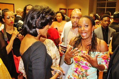 Ramona Harper speaking to talking to Vanessa Bell Calloway at the after-party. Photo by Malcolm Lewis Barnes.