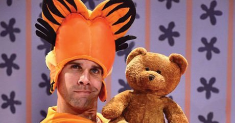 Evan Casey as Garfield and his furry friend. Photo by Bruce Douglas.