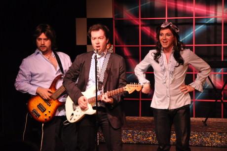 Tim Kurtzberg, Gabriel T. Potter, and Cam Sammartano as the band - Sammy, Robbie, and George - in 'The Wedding Singer.' Photo by Elli Swink.