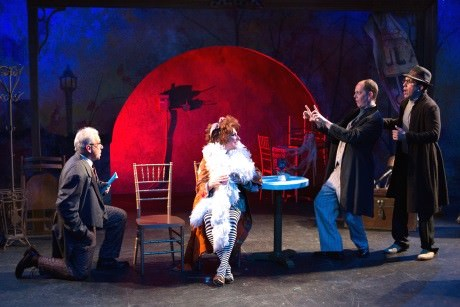 Cam Magee (Aurélie, the Madwoman of Chaillot) with a group of evil men: Joe Palka, Jay Hardee, and Theo Hadjimichael (A Group of Evil Men). Photo by Teresa Wood.