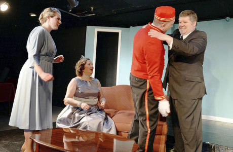 Johnna Leary, (Maggie), Joan Crooks (Julia), Scott Ruble (The Bellhop) and Shawn R. Martin (Henry). Photo by Ric Dugan/Herald-Mill Media.