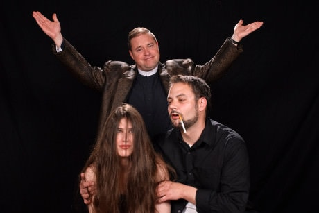 Standing: Jason Vaughan and Seated: Diane Samuelson, and Pat Reynolds. Photo courtesy of The Colonial Players.