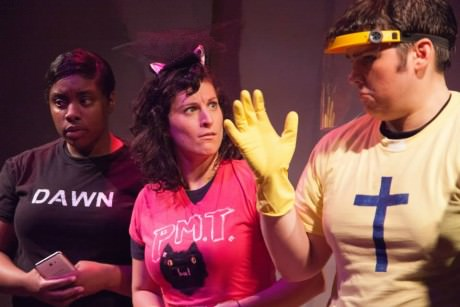 RN Healey, Alani Kravitz, Ashley Nicole Lyles, and Robert Pike in The Deatj of a Stupod Man Or How I Became an Internet Sensation.' Photo by Daniel Corey.