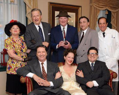 The cast: Carol Conley Evans, Bill Bossemeyer, Steven Shriner, Mark Wible, Anne Shoemaker, Mark Scharf, Torberg M. Tonnessen, and Bruce Levy. Photo by Tom Lauer.