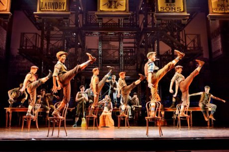 (Ben Cook (Front Right with Cigar) and the Original company, North American Tour of NEWSIES.  ©Disney.  Photo by Deen van Meer.