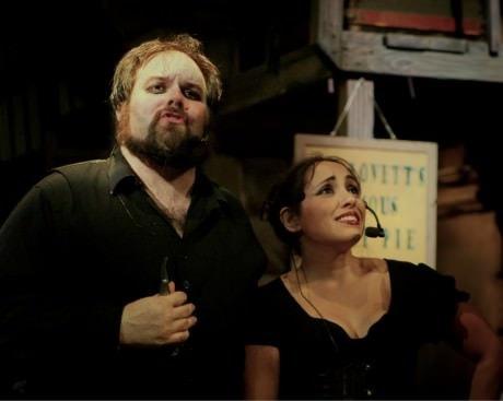 Andrew Lloyd Baughman (Sweeney Todd) and   (Mrs. Lovett). Photo by Brandon Penick Photography.