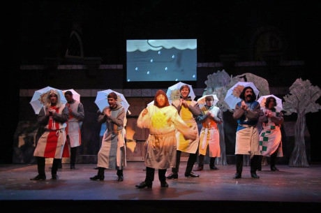 """Michael J. Margelos (center) as Patsy leads a tap dance to """"Always Look On the Bright Side of Life."""""""