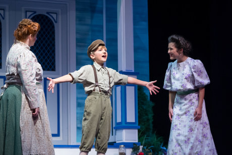 """Gary Indiana"": Mrs. Paroo (Elizabeth Albert), Winthrop (Tyson Francis), and Marian (Mackenzie Norris). Photo by C. King Photography."
