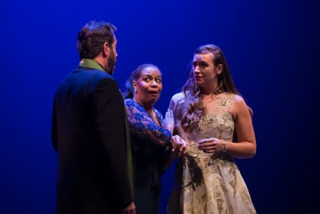 When her father proposes that Juliette (Merideth Marano, in white) marry Count Pâris, Frère Laurent (Danien Savarino) and her nurse Gertrude (Anamer Castrello) counsel her to be silent. Photo by Dhanesh Mahtani.