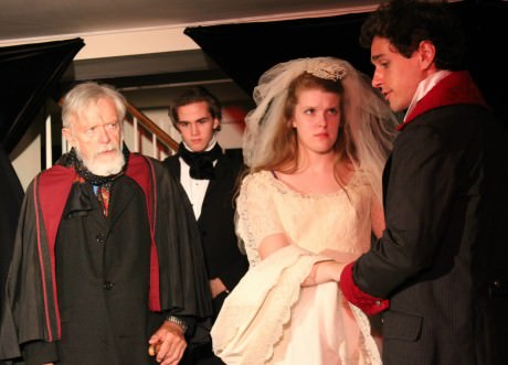 Florio (John Burghardt) marries off his daughter, Annabella (Caroline McQuaig) to Soranzo (Mark Ashin), while her brother, Giovanni (Nick Byron) looks on in ''Tis Pity She's a Whore.' Photo by Clare Lockhart.