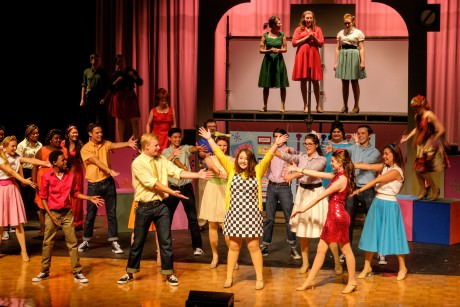 Anna Hicks  (Tracy) and the cast of 'Hairspray.' Photo by Tim Gibson.