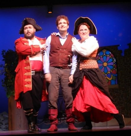 With Jeffrey Grayson Gates (The Pirate King), Timothy Ziese (Frederic), and Wendy Stengel (Ruth). Photo by Harvey Levin