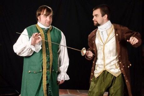 Jeff Sprague (Cliton) and Dorante (Fred Fletcher-Jackson). Photo courtesy of The Colonial Players.