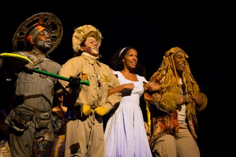 Ease on Down The Road with Tinman (Willie Garner), Scarecrow (Jobrari Parker-Namdar), Dorothy (Jessie Hooker), and Lion (Nygel Robinson). Photo by C. King Photography.