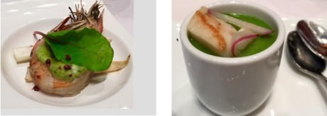 Wild Spot Prawns from the Northwest Coast – Cold Broccoli Soup with Citrus Marinated Scallops from the Northern Woodlands.