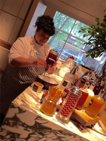 Executive Pastry Chef Naomi Gallego makes snow cones.