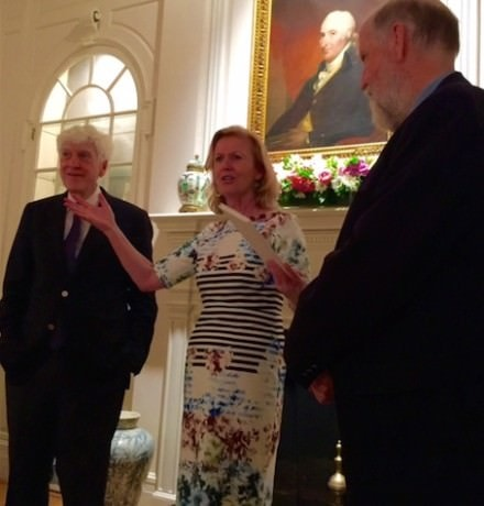 Ambassador Anne Anderson makes a presentation to playwright, Joe Hassett at the Residence.