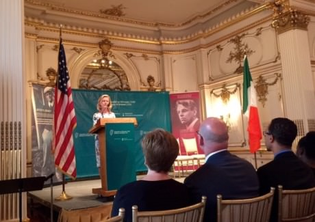 Ambassador Anne Anderson addresses guests at the Cosmos Club.