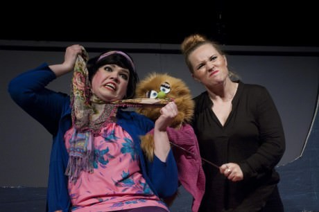 """L to R: Christmas Eve (Danielle Robinette) teaches Kate Monster (Erin Adams) about the true meaning of relationships in """"The More You Ruv Someone."""" Photo courtesy of Stillpointe Theatre Initiative."""
