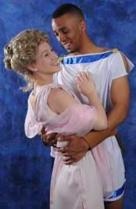 Molly Janiga (Philia) and Hasani Allen (Hero). Photo by Steve Wolf.