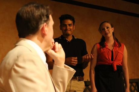 Brian Kraszewski (Michael), Felix Hernandez (David), and Claire Malkie (Server). Photo by Shealyn Jae.