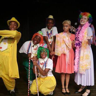 Dorothy (Linae' Bullock) and Addaperl (Meghan Wright), the Good Witch of the North, prepare to ease on down The Yellow Brick Road (Dashyad Moten) with the Munchkins (Vermonica Thomas, Kenedra Brooks and Zorah Love). Photo courtesy of The Finest! Performance Foundation, Inc.