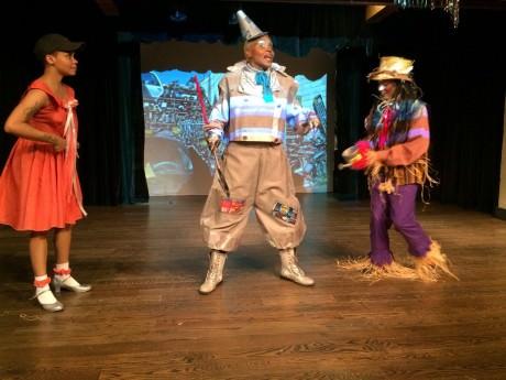 Tin Man (Kashi-Tara), the Cowardly Lion (Robert E. Person), Linae' Bullock (Dorothy), and Monisha Robinson (Scarecrow). Photo courtesy of The Finest! Performance Foundation, Inc.