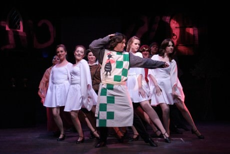 """Brian Merritt as Robin performs with the female ensemble in """"You Won't Succeed on Broadway."""" Photo courtesy of Port City Players."""