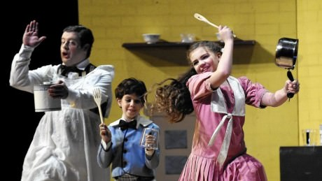 Dave Hill (Robertson Ay), Julianna Groves (center) as Michael,  Photo by Patrick Mason. and Compton Little (right) as Jane in Mary Poppins at September Song