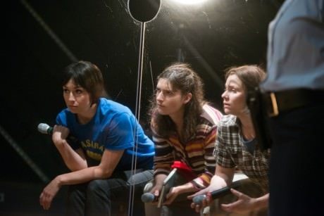 Libby Matthews as Nadya, Liba Vaynbeg as Masha, and Katya Stepanov as Katya. Photo by Seth Freeman.