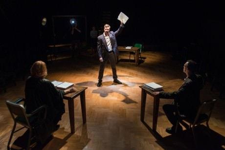 Cary Donaldson as Defense, Sarah Nealis as Judge, and T. Ryder Smith as Prosecutor. Photo by Seth Freeman.