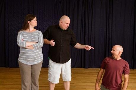 Jolene Vettese (Princess Fiona), Paul Tonden (Shrek) and Chuck Dkuhy (Farquaad) in rehearsal. Photo by Traci J Brooks Photography.