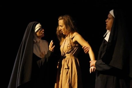 Margaret (Allison Frisch) (Center), Sister Anastasia (Elizabeth Bruce), and represents the Sister Helen (Taunya Ferguson). Photo courtesy of The Thelma Theatre.