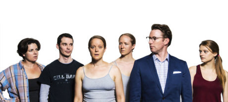 The cast of Inheritance Canyon. From L to R: Teresa Castracane, James Flanagan, Esther Williamson, Gwen Grastorf, Dan Crane, and Morgan Sendek. Photo by Marcus Kyd with Teresa Castracane.