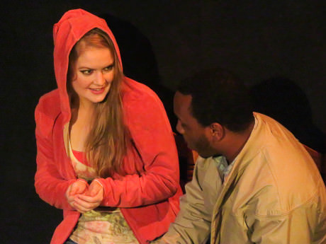 Ali Evarts (CC), and Russell, and Clayton Pelham (Russell). Photo courtesy of Compass Rose Theater.